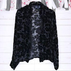 Gap Silk Rayon Sheer Velour Floral Print Button Up